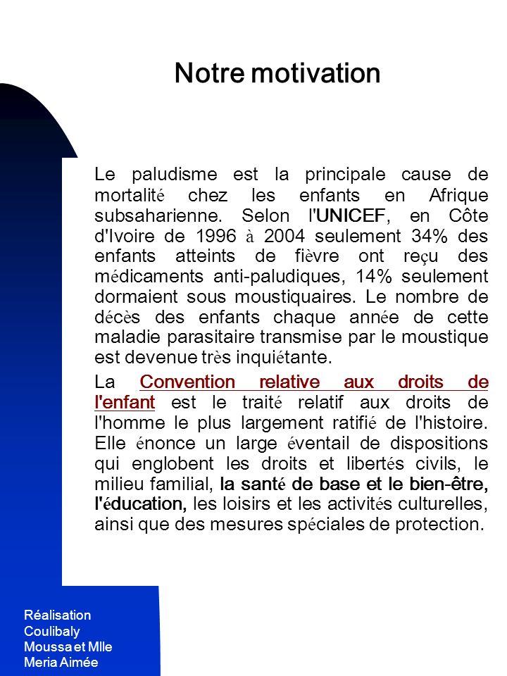 Réalisation Coulibaly Moussa et Mlle Meria Aimée 10 - La plupart des gens n ont pas les moyens de se payer des moustiquaires.
