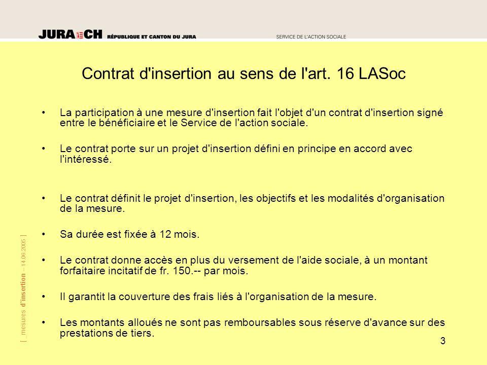 [ _mesures dinsertion – 14.06.2005 ] 3 Contrat d'insertion au sens de l'art. 16 LASoc La participation à une mesure d'insertion fait l'objet d'un cont