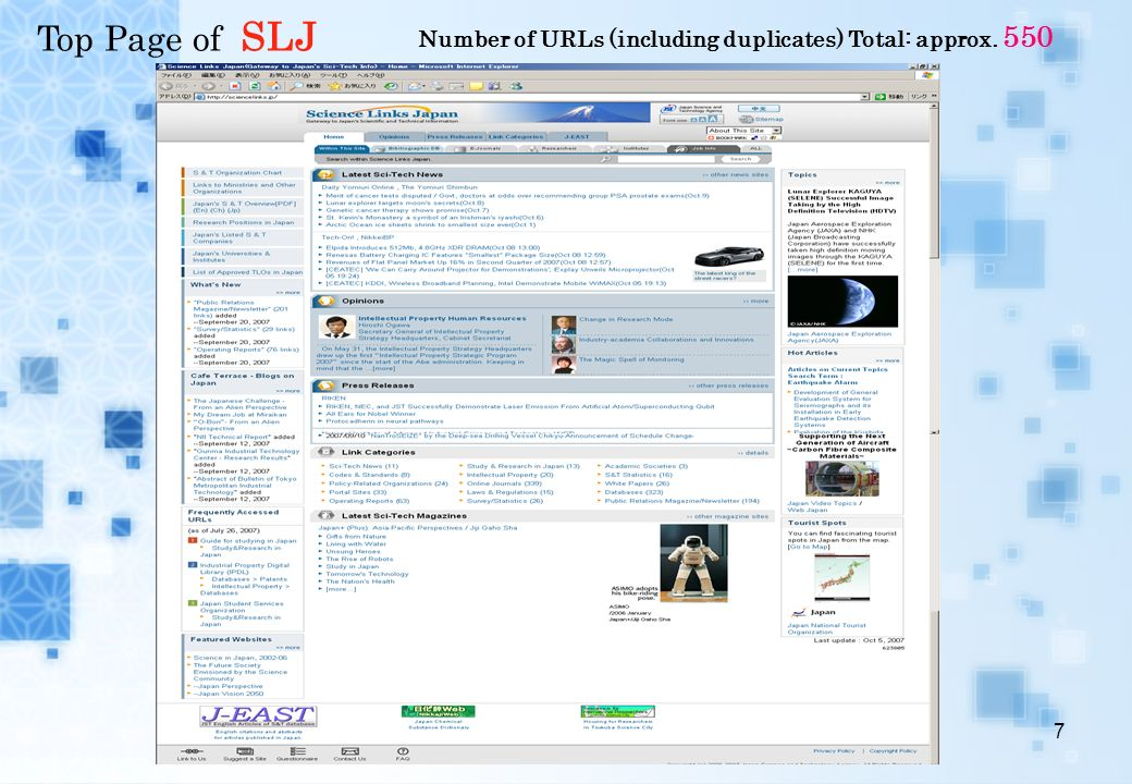 7 Top Page of SLJ Number of URLs (including duplicates) Total: approx. 550