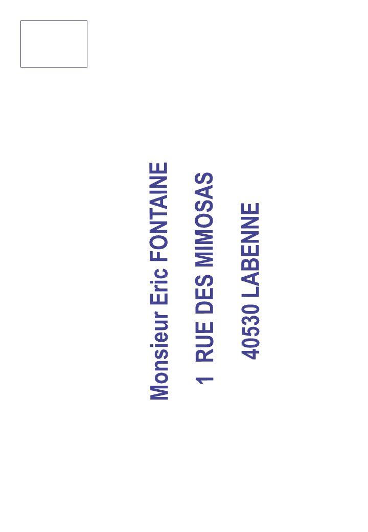 Monsieur Eric FONTAINE 1 RUE DES MIMOSAS 40530 LABENNE