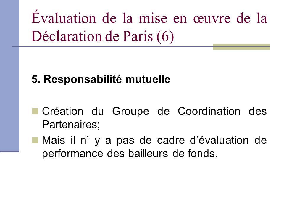 Évaluation de la mise en œuvre de la Déclaration de Paris (6) 5. Responsabilité mutuelle Création du Groupe de Coordination des Partenaires; Mais il n