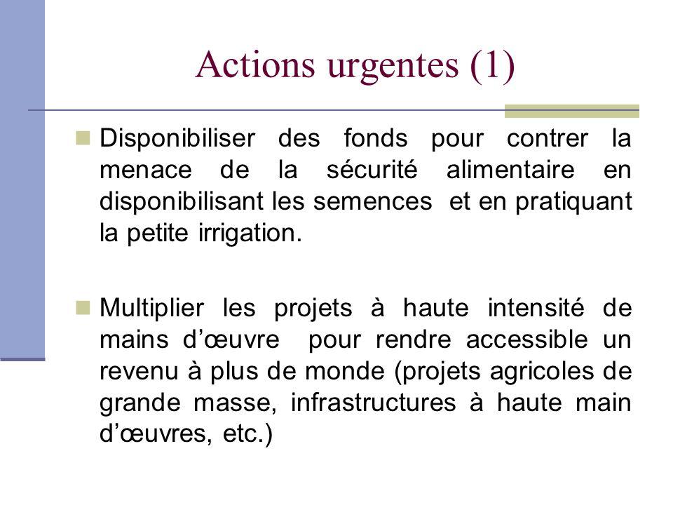 Actions urgentes (1) Disponibiliser des fonds pour contrer la menace de la sécurité alimentaire en disponibilisant les semences et en pratiquant la pe