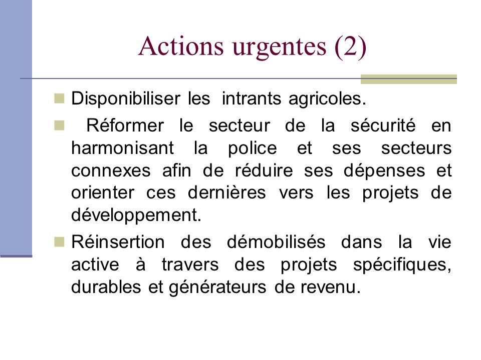 Actions urgentes (2) Disponibiliser les intrants agricoles. Réformer le secteur de la sécurité en harmonisant la police et ses secteurs connexes afin