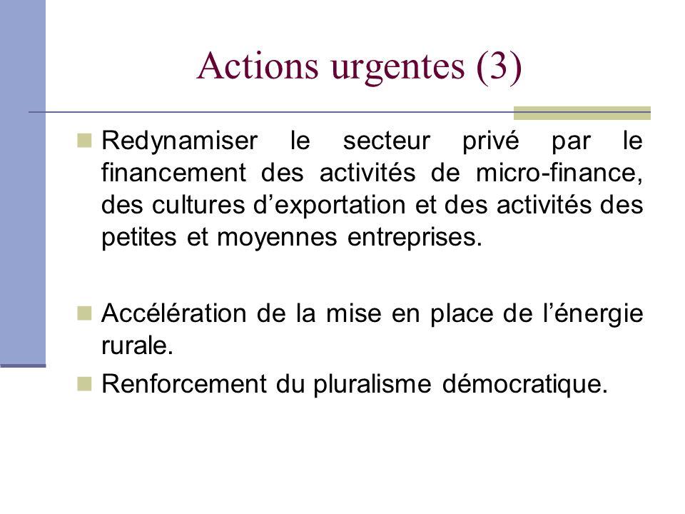 Actions urgentes (3) Redynamiser le secteur privé par le financement des activités de micro-finance, des cultures dexportation et des activités des pe