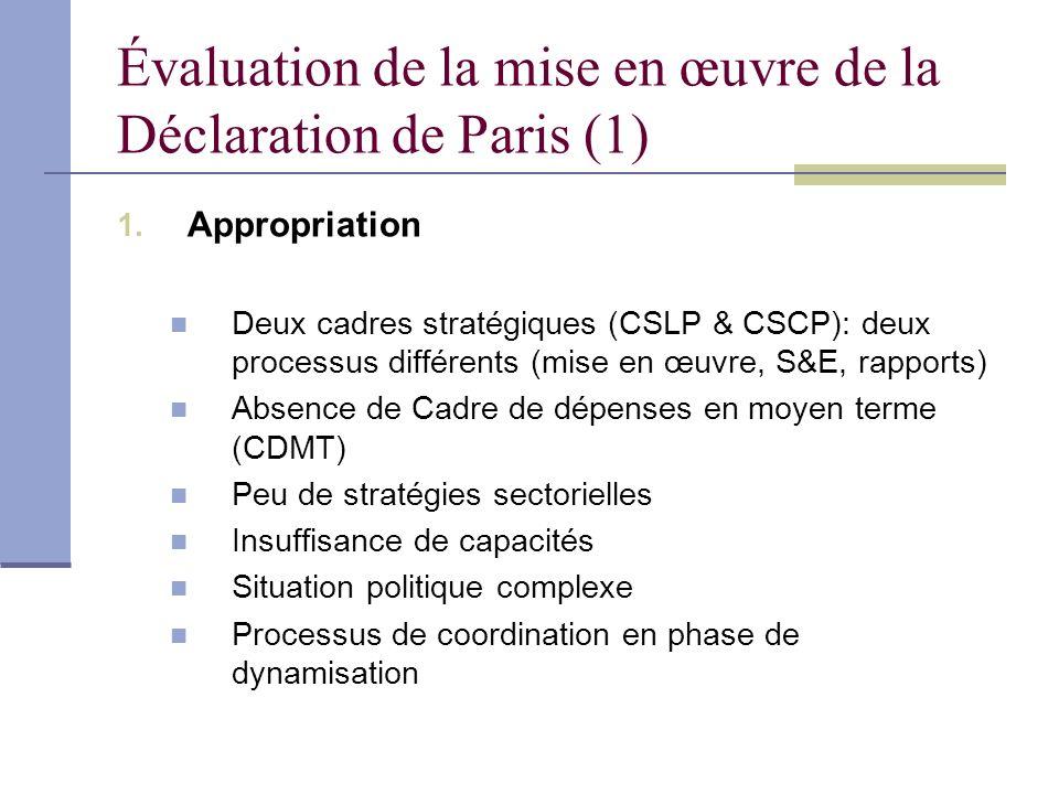 Évaluation de la mise en œuvre de la Déclaration de Paris (1) 1. Appropriation Deux cadres stratégiques (CSLP & CSCP): deux processus différents (mise
