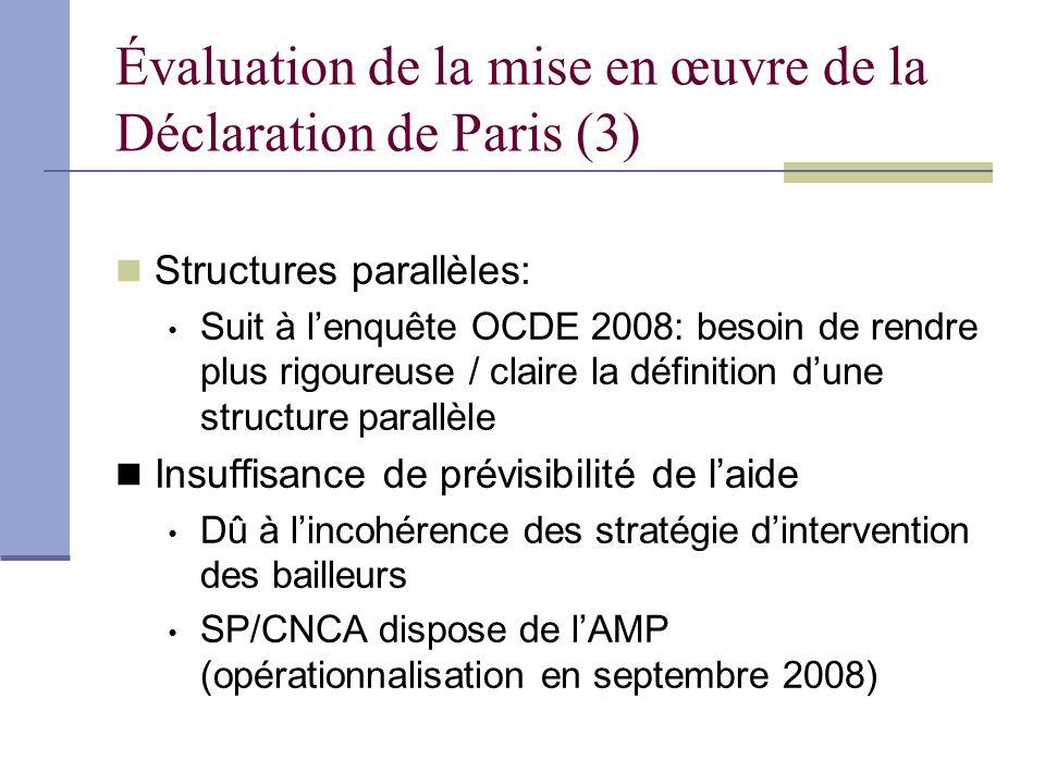Évaluation de la mise en œuvre de la Déclaration de Paris (3) Structures parallèles: Suit à lenquête OCDE 2008: besoin de rendre plus rigoureuse / cla