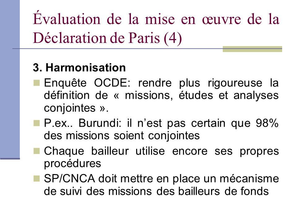 Évaluation de la mise en œuvre de la Déclaration de Paris (4) 3. Harmonisation Enquête OCDE: rendre plus rigoureuse la définition de « missions, étude