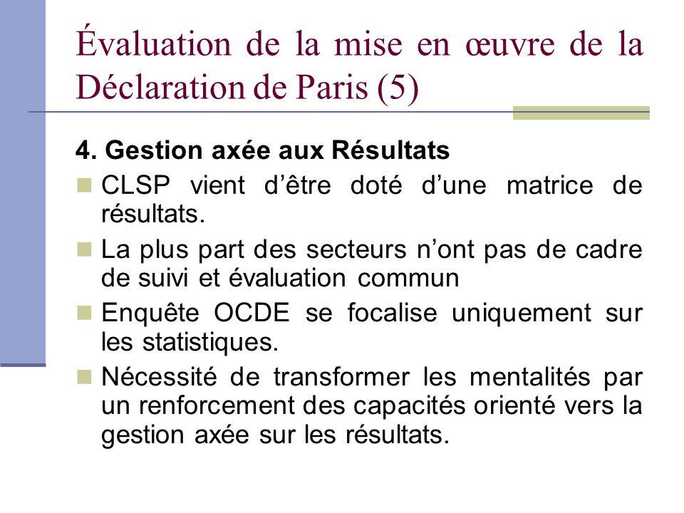 Évaluation de la mise en œuvre de la Déclaration de Paris (6) 5.