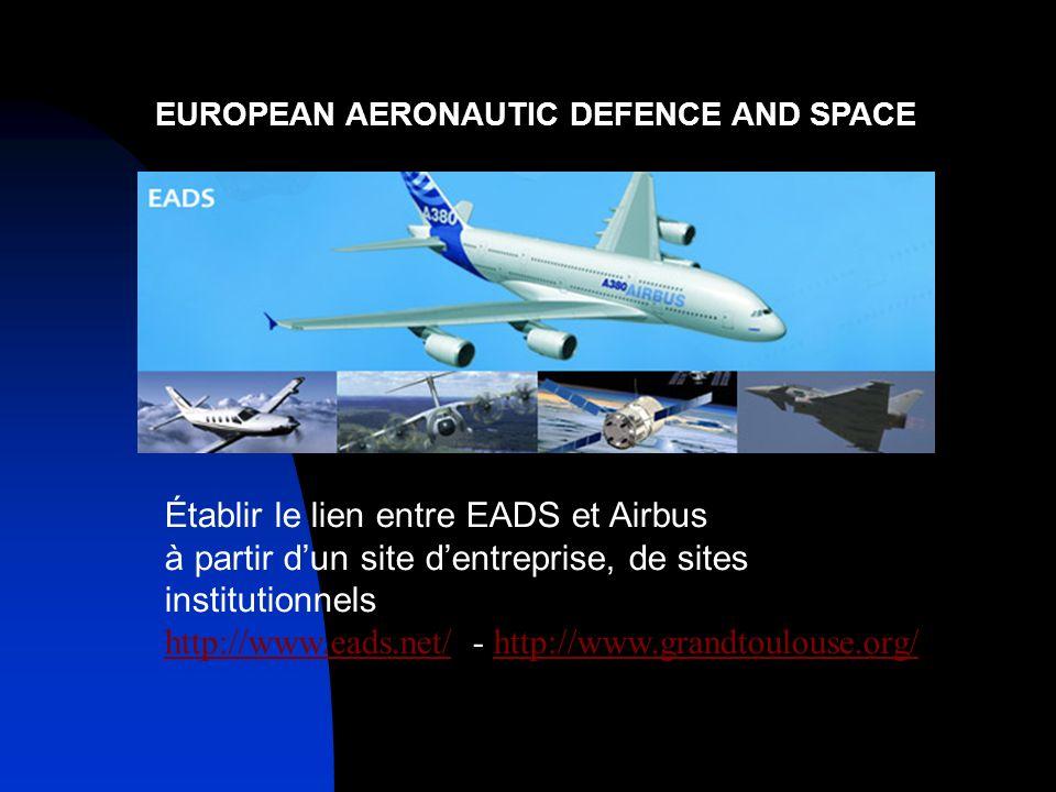 EUROPEAN AERONAUTIC DEFENCE AND SPACE Établir le lien entre EADS et Airbus à partir dun site dentreprise, de sites institutionnels http://www.eads.net