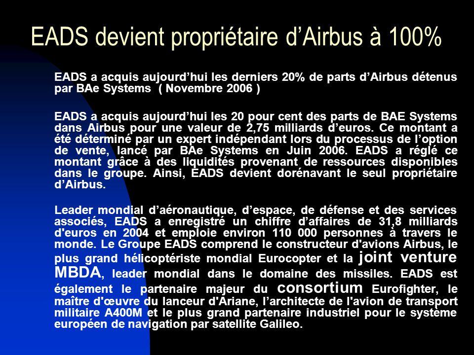 EADS devient propriétaire dAirbus à 100% EADS a acquis aujourdhui les derniers 20% de parts dAirbus détenus par BAe Systems ( Novembre 2006 ) EADS a a