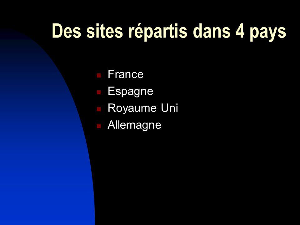 Des sites répartis dans 4 pays France Espagne Royaume Uni Allemagne