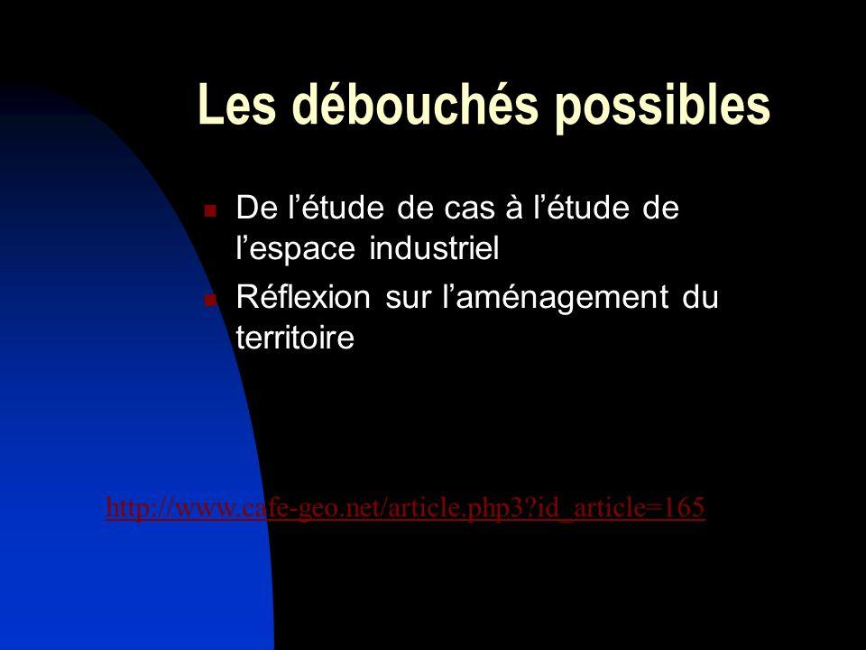Les débouchés possibles De létude de cas à létude de lespace industriel Réflexion sur laménagement du territoire http://www.cafe-geo.net/article.php3?