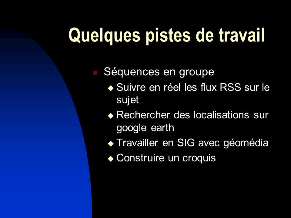 Quelques pistes de travail Séquences en groupe Suivre en réel les flux RSS sur le sujet Rechercher des localisations sur google earth Travailler en SI