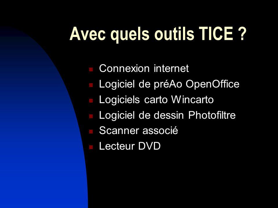 Avec quels outils TICE ? Connexion internet Logiciel de préAo OpenOffice Logiciels carto Wincarto Logiciel de dessin Photofiltre Scanner associé Lecte