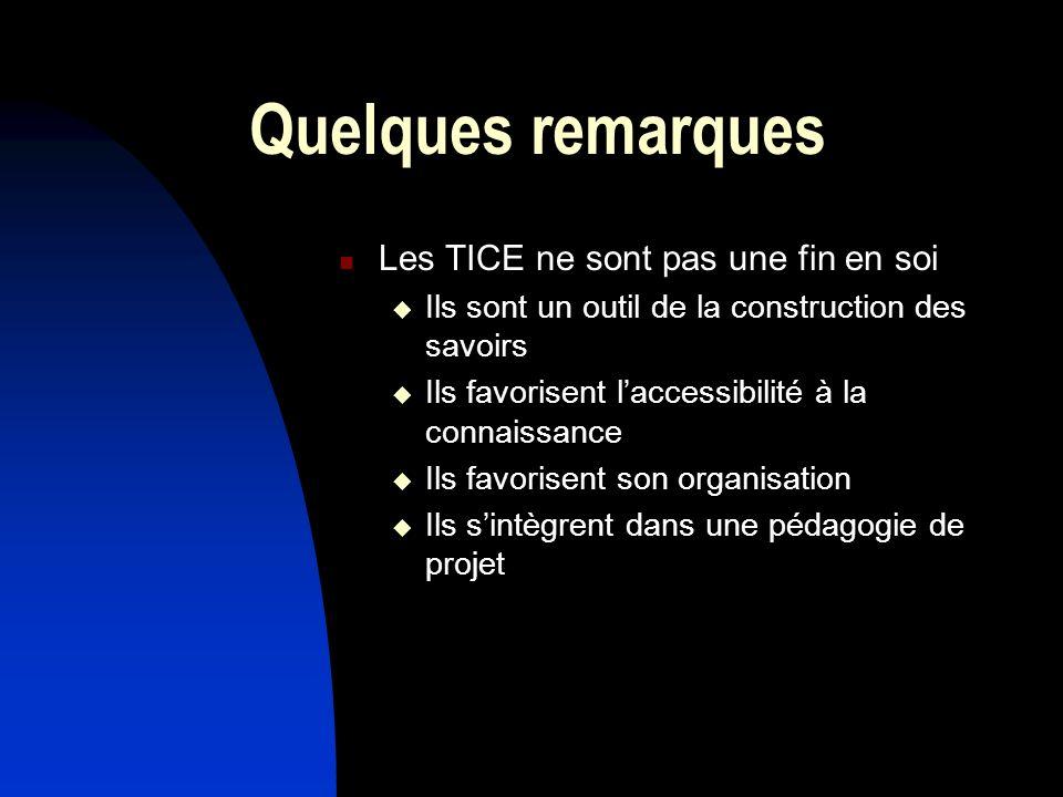Quelques remarques Les TICE ne sont pas une fin en soi Ils sont un outil de la construction des savoirs Ils favorisent laccessibilité à la connaissanc