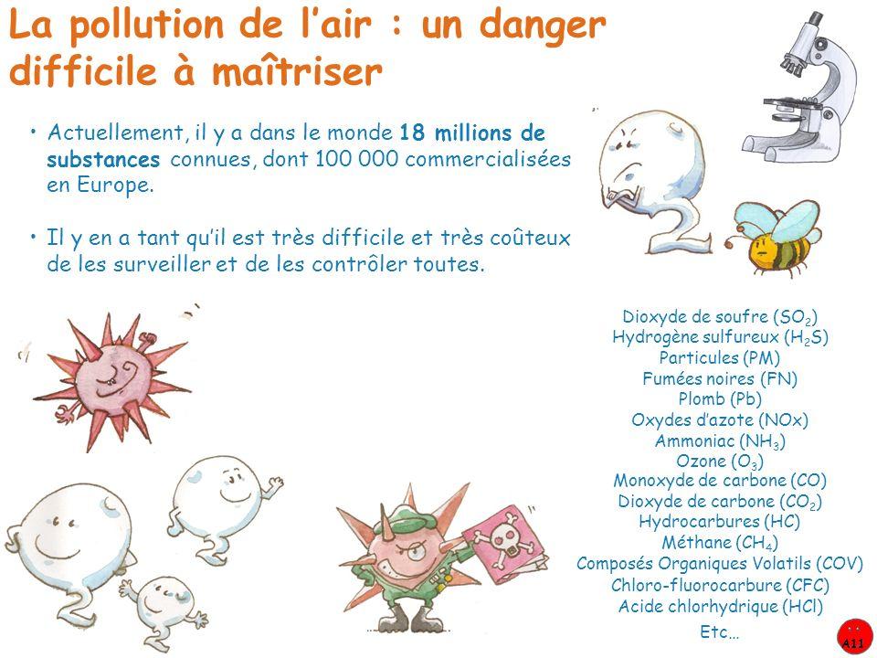 Actuellement, il y a dans le monde 18 millions de substances connues, dont 100 000 commercialisées en Europe. La pollution de lair : un danger diffici