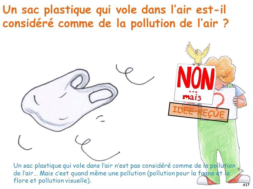 Un sac plastique qui vole dans lair est-il considéré comme de la pollution de lair ? Un sac plastique qui vole dans lair nest pas considéré comme de l