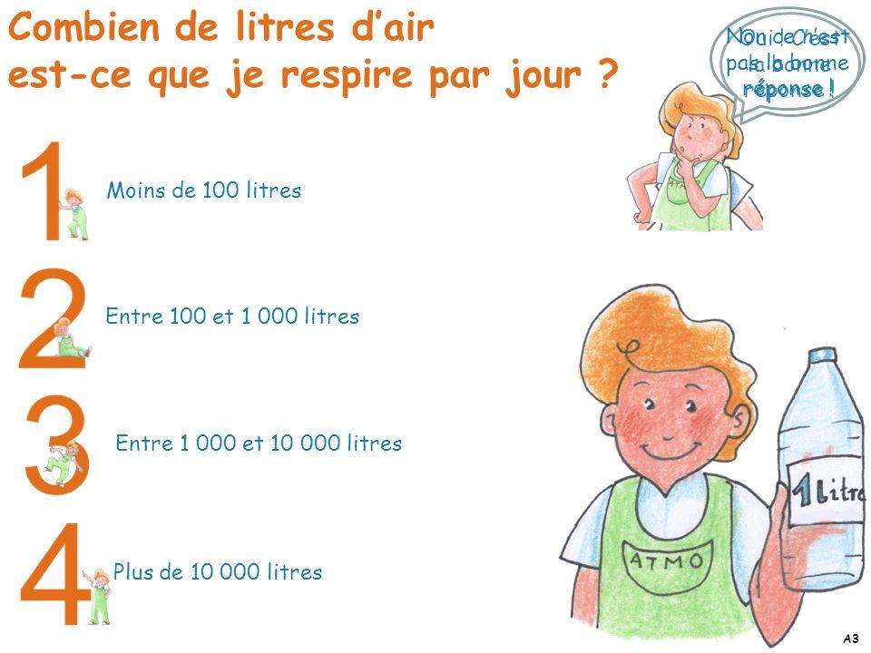 Plus de 10 000 litres Entre 1 000 et 10 000 litres Entre 100 et 1 000 litres Moins de 100 litres Oui ! Cest la bonne réponse ! Combien de litres dair