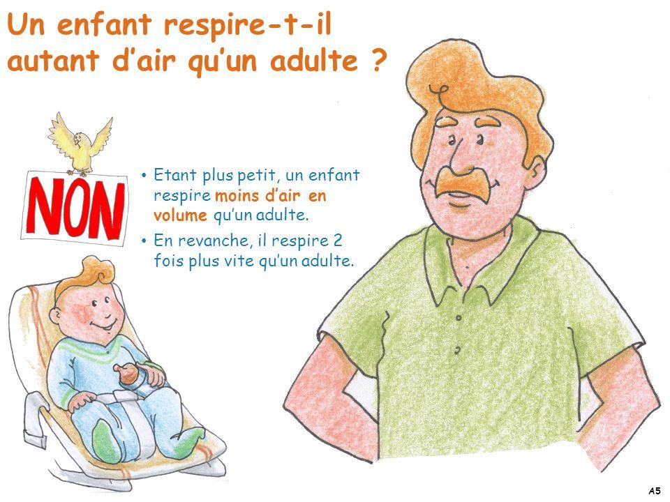 Etant plus petit, un enfant respire moins dair en volume quun adulte. En revanche, il respire 2 fois plus vite quun adulte. Un enfant respire-t-il aut