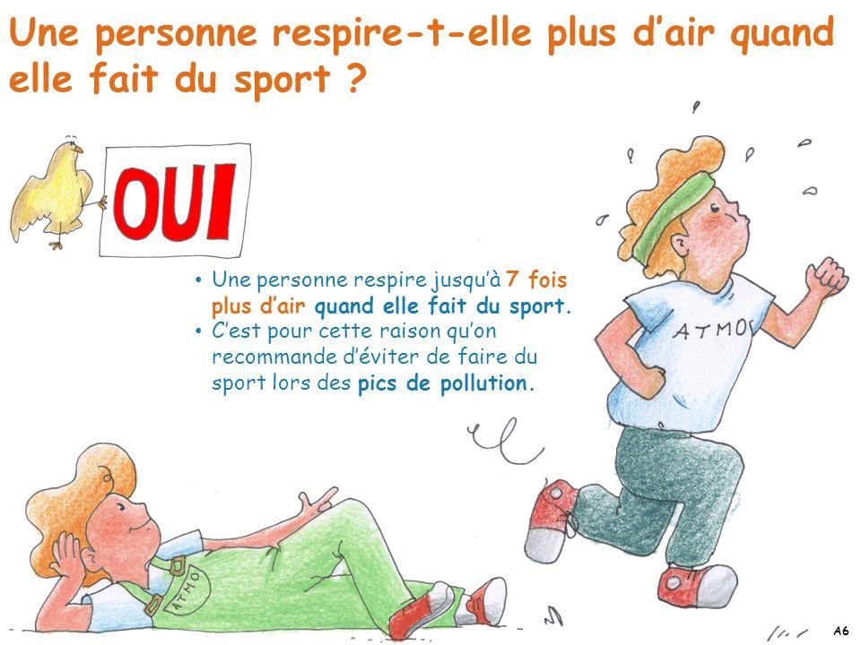 Une personne respire-t-elle plus dair quand elle fait du sport ? Une personne respire jusquà 7 fois plus dair quand elle fait du sport. Cest pour cett