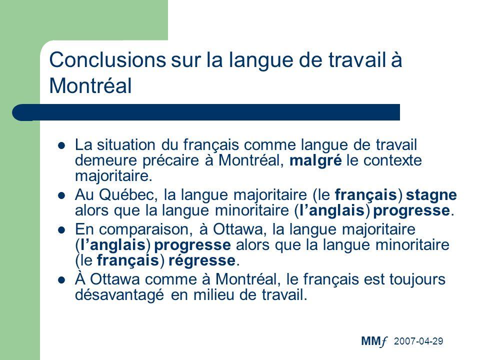 MM f 2007-04-29 La situation du français comme langue de travail demeure précaire à Montréal, malgré le contexte majoritaire. Au Québec, la langue maj