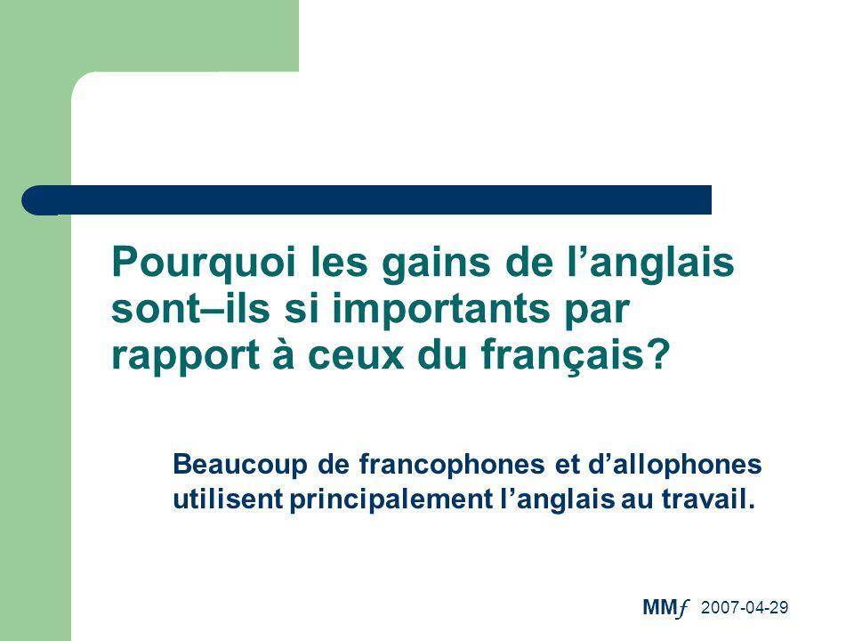 MM f 2007-04-29 Pourquoi les gains de langlais sont–ils si importants par rapport à ceux du français? Beaucoup de francophones et dallophones utilisen