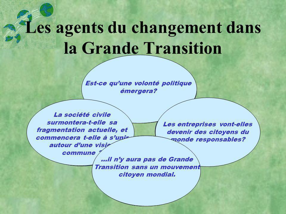 Les agents du changement dans la Grande Transition Organisations intergouvernementales Entreprises multinationales Société civile Un public conscient