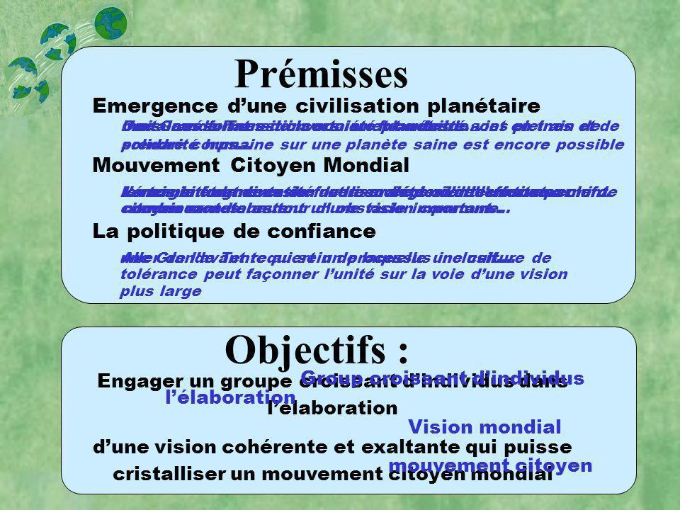 Premises and Goals Prémisses Emergence dune civilisation planétaire Mouvement Citoyen Mondial La politique de confiance Objectifs : Certaines formes d