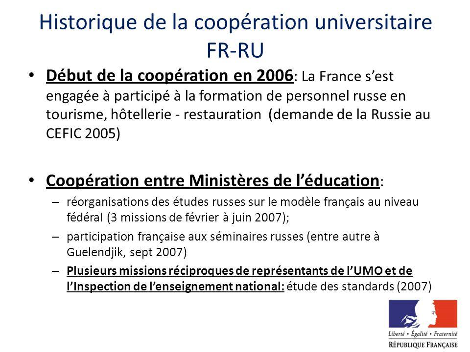Historique de la coopération universitaire FR-RU Début de la coopération en 2006 : La France sest engagée à participé à la formation de personnel russ