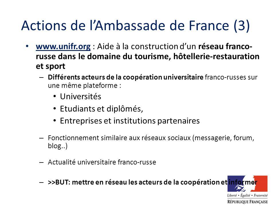 Actions de lAmbassade de France (3) www.unifr.org : Aide à la construction dun réseau franco- russe dans le domaine du tourisme, hôtellerie-restaurati