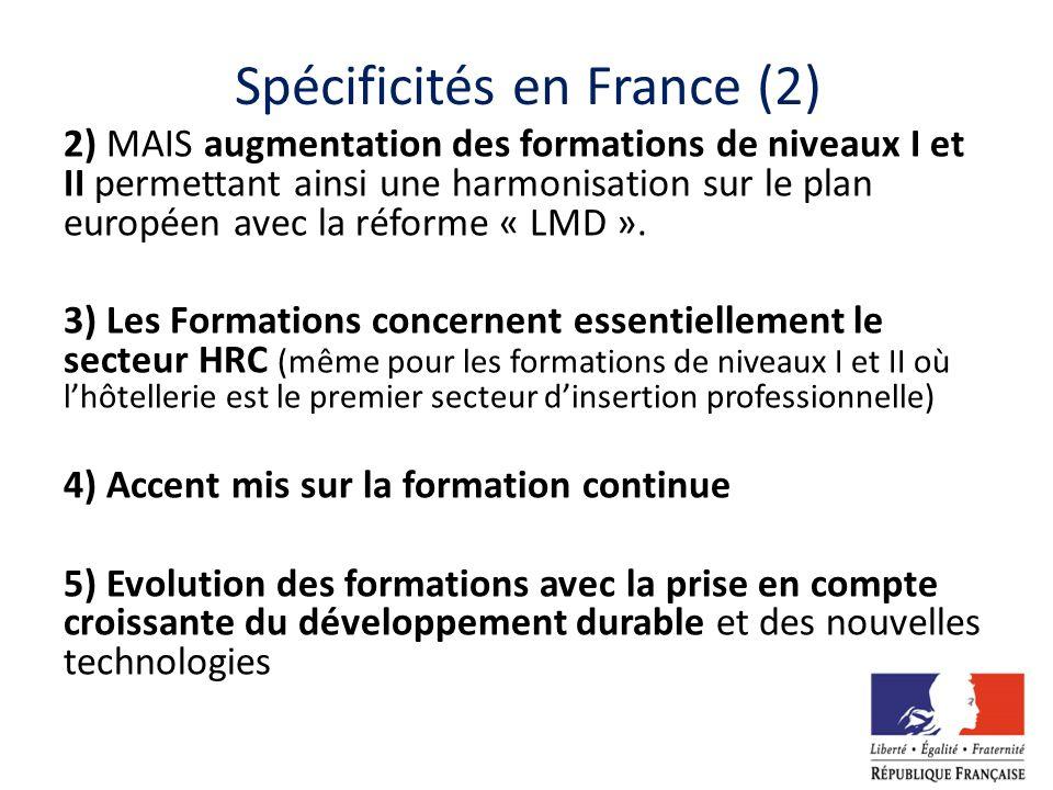 Spécificités en France (2) 2) MAIS augmentation des formations de niveaux I et II permettant ainsi une harmonisation sur le plan européen avec la réfo