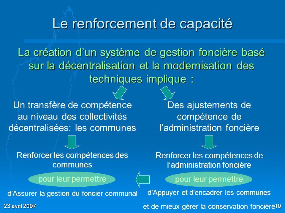 23 avril 200710 Renforcer les compétences des communes pour leur permettre dAssurer la gestion du foncier communal Le renforcement de capacité La créa
