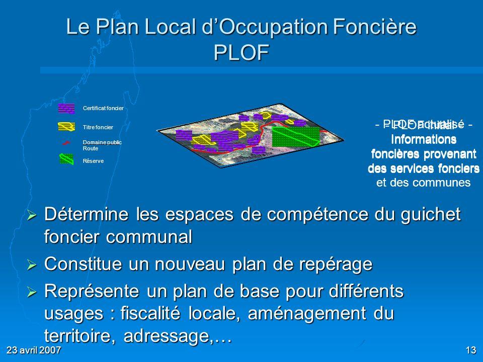 23 avril 200713 - PLOF initial - Informations foncières provenant des services fonciers Le Plan Local dOccupation Foncière PLOF Détermine les espaces