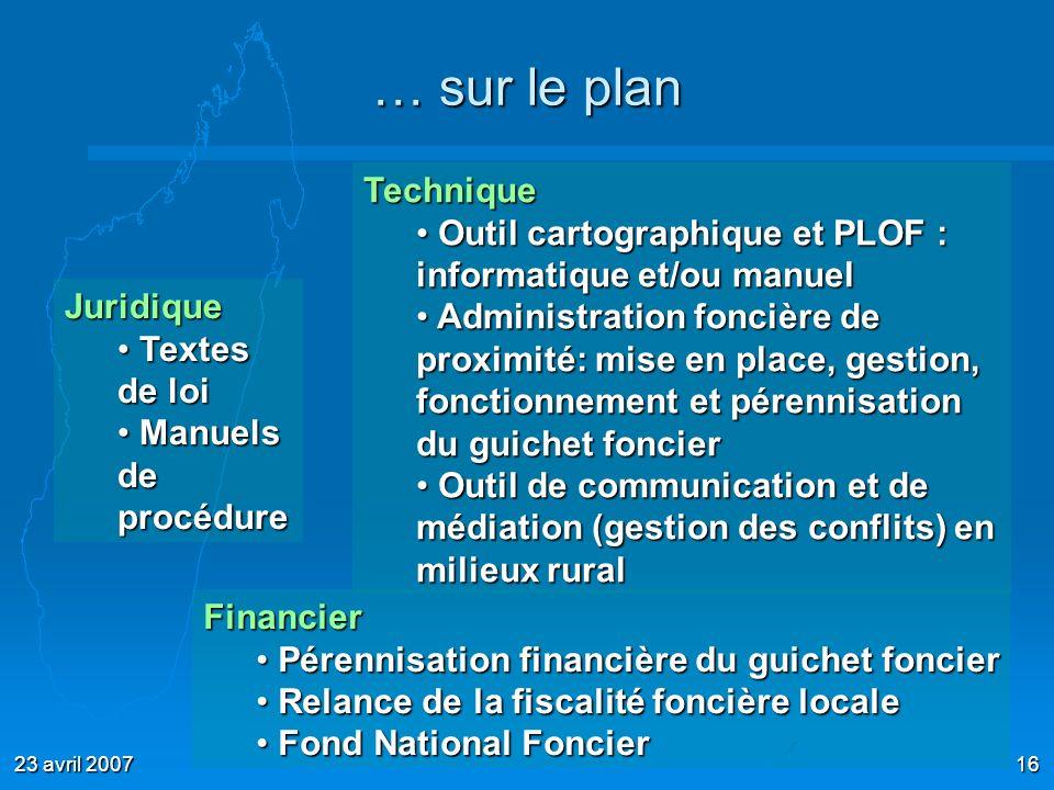 23 avril 200716 … sur le plan Juridique Textes de loi Textes de loi Manuels de procédure Manuels de procédure Technique Outil cartographique et PLOF :