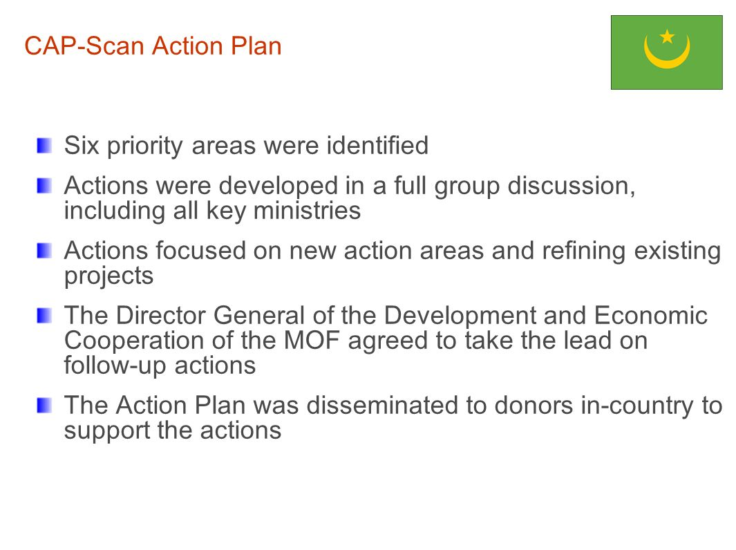 Six priority areas were identified Actions were developed in a full group discussion, including all key ministries Actions focused on new action areas