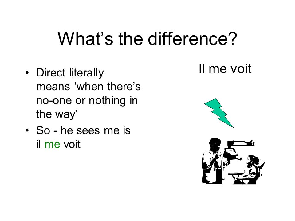 Whats the difference? Indirect means when there IS someone or something in the way, usually indicated by the word or sense of TO So - he talks to me i