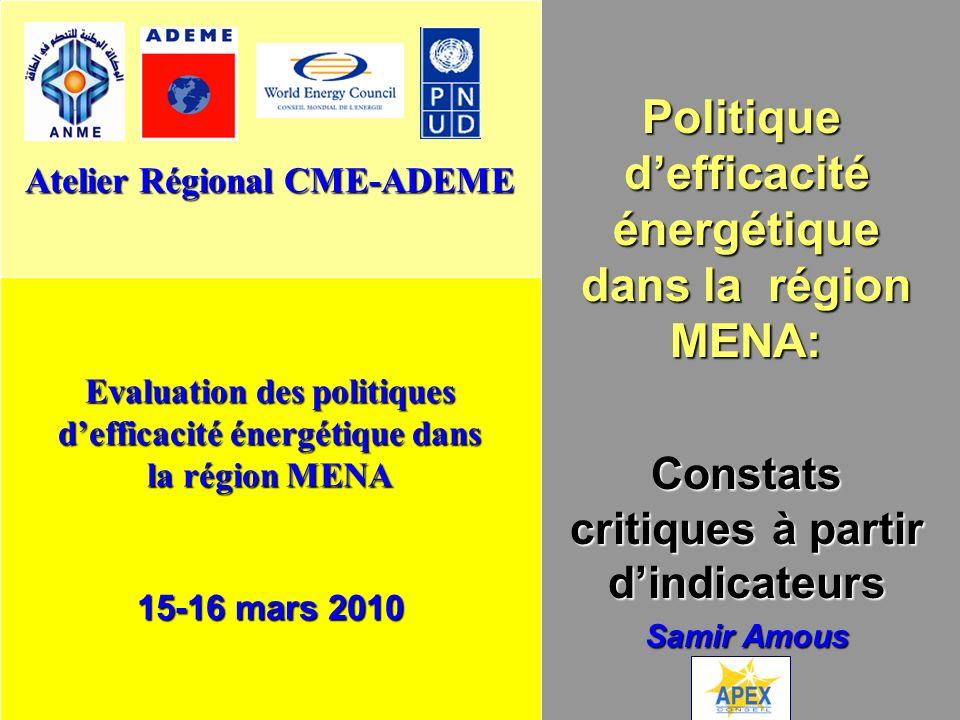 Evaluation des politiques defficacité énergétique dans la région MENA 15-16 mars 2010 p.1 Politique defficacité énergétique dans la région MENA: Const