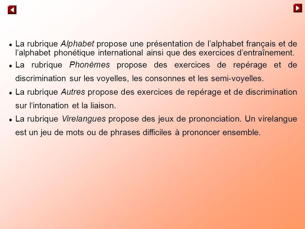 La rubrique Alphabet propose une présentation de lalphabet français et de lalphabet phonétique international ainsi que des exercices dentraînement. La
