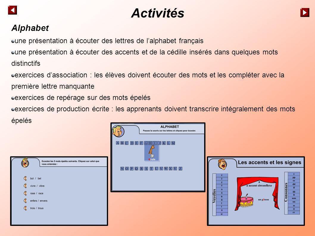 Activités Alphabet une présentation à écouter des lettres de lalphabet français une présentation à écouter des accents et de la cédille insérés dans q