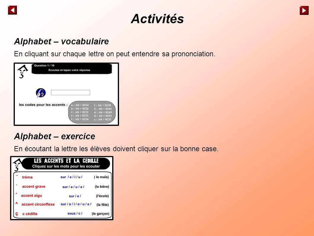 Activités Les accents et la cédille – vocabulaire On propose un tableau explicatif et des mots dexemple à écouter.