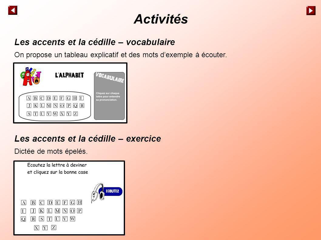 Activités Les accents et la cédille – vocabulaire On propose un tableau explicatif et des mots dexemple à écouter. Les accents et la cédille – exercic