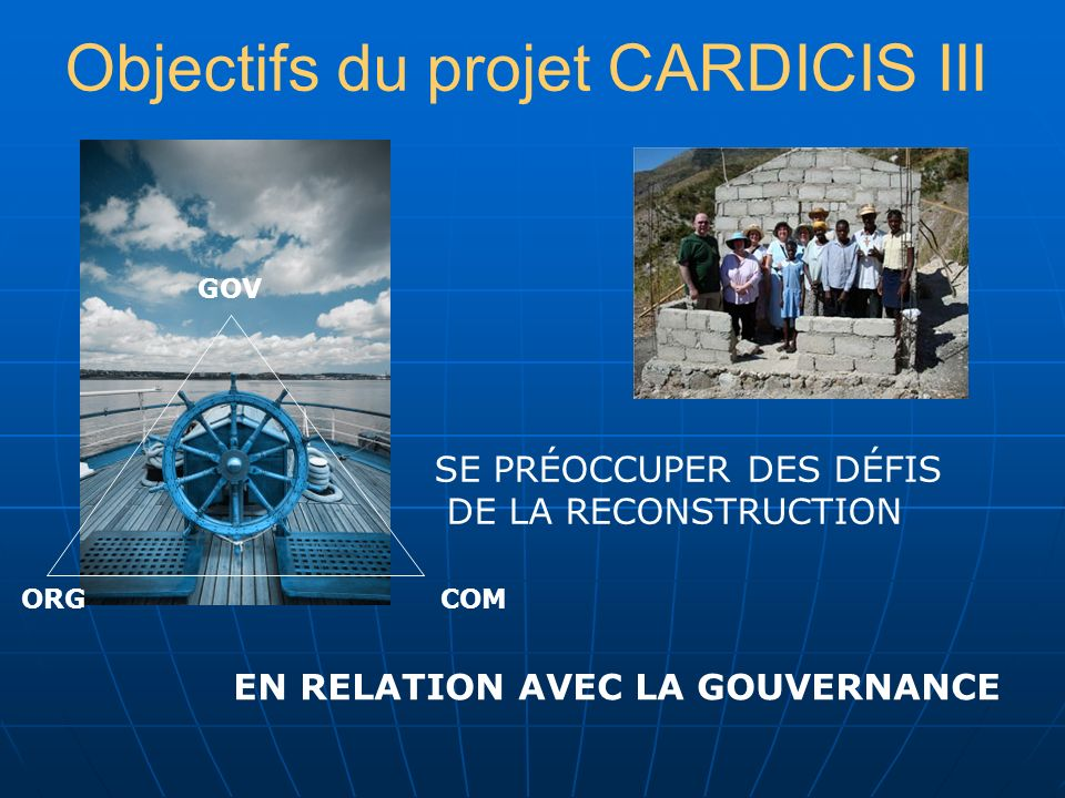 MATINAPRÈS-MIDISOIR 21 INAUGURATION INTRODUCTION THÈMES TRANSVERSAUX THÈMES EN PLÉNIÈRES DÎNER HAÏTIEN CINÉ-CLUB À LA CARTE DÉBAT INFORMEL SUR LA SITUATION HAÏTIENNE (PRISE DE CONSCIENCE) 22 PLÉNIÈRE COURTE POUR MÉTHODE/ORGANISATION PUIS 3 GROUPES PARALLÈLES 3 GROUPES PARALLÈLES SOIRÉE CULTURELLE DOMINICO-HAÏTIENNE (RELAXATION) 23 PLÉNIÈRE COURTE POUR RESTITUTION PERMUTATIONS 3 GROUPES PARALLÈLES DÉBAT EN PLÉNIÈRE APRÈS PRÉSENTATION DES CONCLUSIONS DE CHAQUE GROUPE 24 PLENIÈRE - SYNTHÈSE GÉNÉRALE PRODUCTION PLAN ACTION & RECOMMANDATIONS PRÉPARATION RÉUNION PUBLIQUE SESSION ÉVALUATION REPAS DOMINICAIN VIDÉO SUR LA RÉPUBLIQUE DOMINICAINE (HONNEUR AU PAYS HÔTE) 25 RÉUNION PUBLIQUE CARDICIS 3 : ATELIER 21-25 JUIN 2010