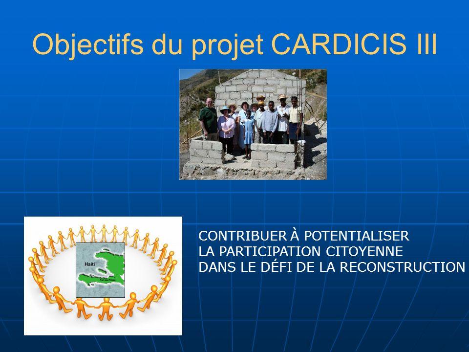 Objectifs du projet CARDICIS III CARAÏBE RÉÉQUILIBRER LIMPORTANCE DE LA