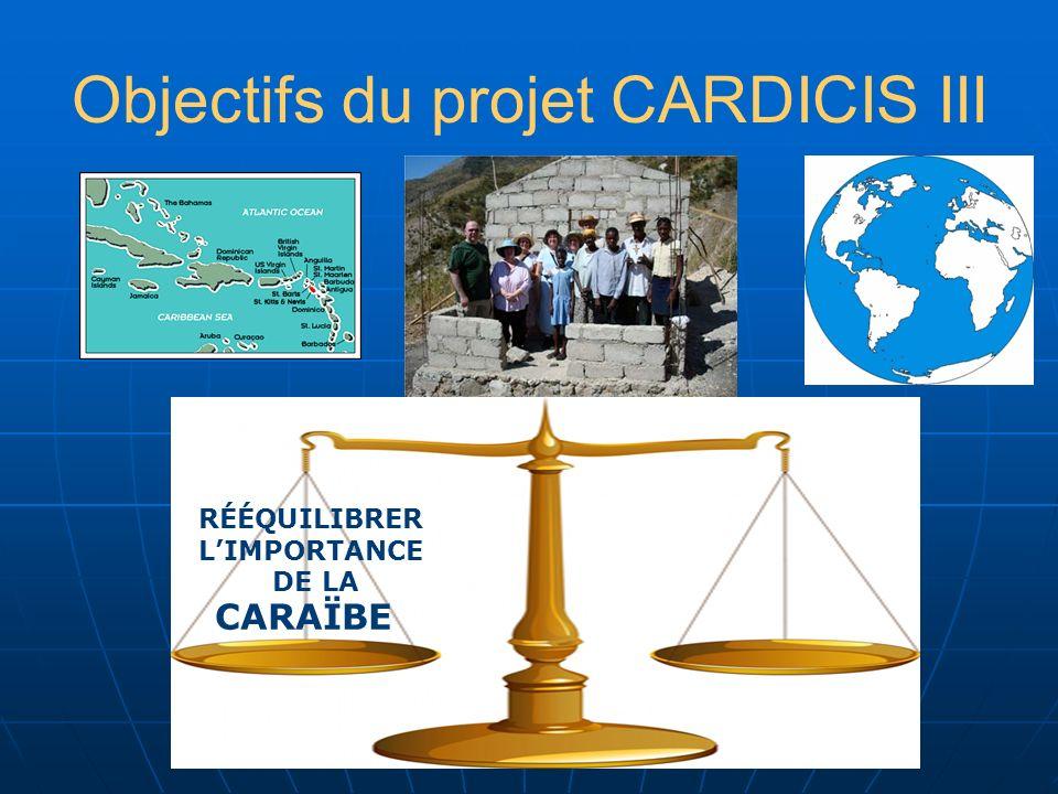 Objectifs du projet CARDICIS III CARAÏBE REEQUILIBRER LE RÔLE DE LA MÉMOIRE DE LA SOLIDARITÉ IMPORTANCE DE LA PRISE EN COMPTE DE LA CULTURE PRÉVENTION DES DÉSATRES