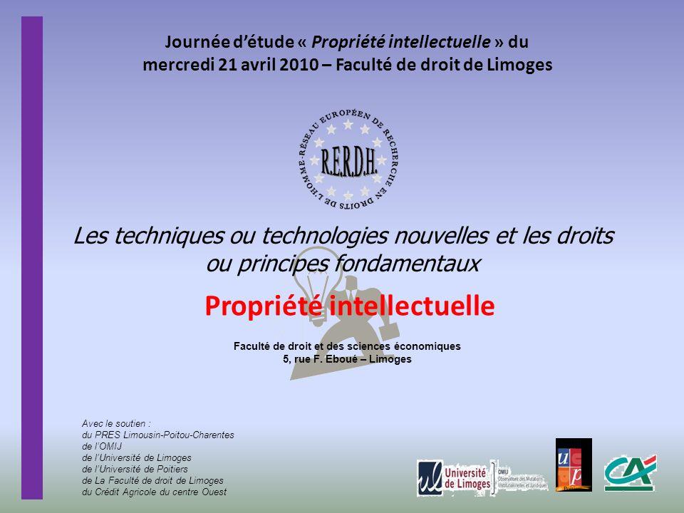 Les techniques ou technologies nouvelles et les droits ou principes fondamentaux Journée détude « Propriété intellectuelle » du mercredi 21 avril 2010