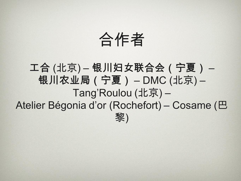 ( ) – – – DMC ( ) – TangRoulou ( ) – Atelier Bégonia dor (Rochefort) – Cosame ( )