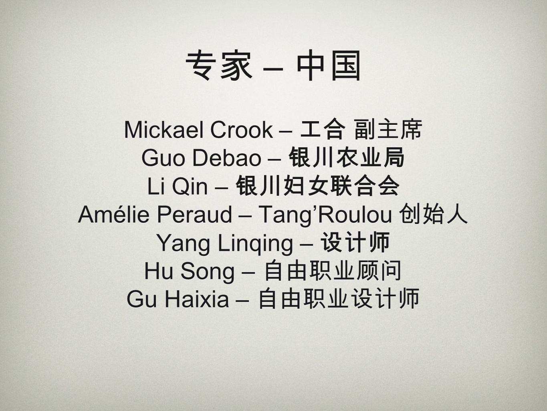 – Mickael Crook – Guo Debao – Li Qin – Amélie Peraud – TangRoulou Yang Linqing – Hu Song – Gu Haixia –