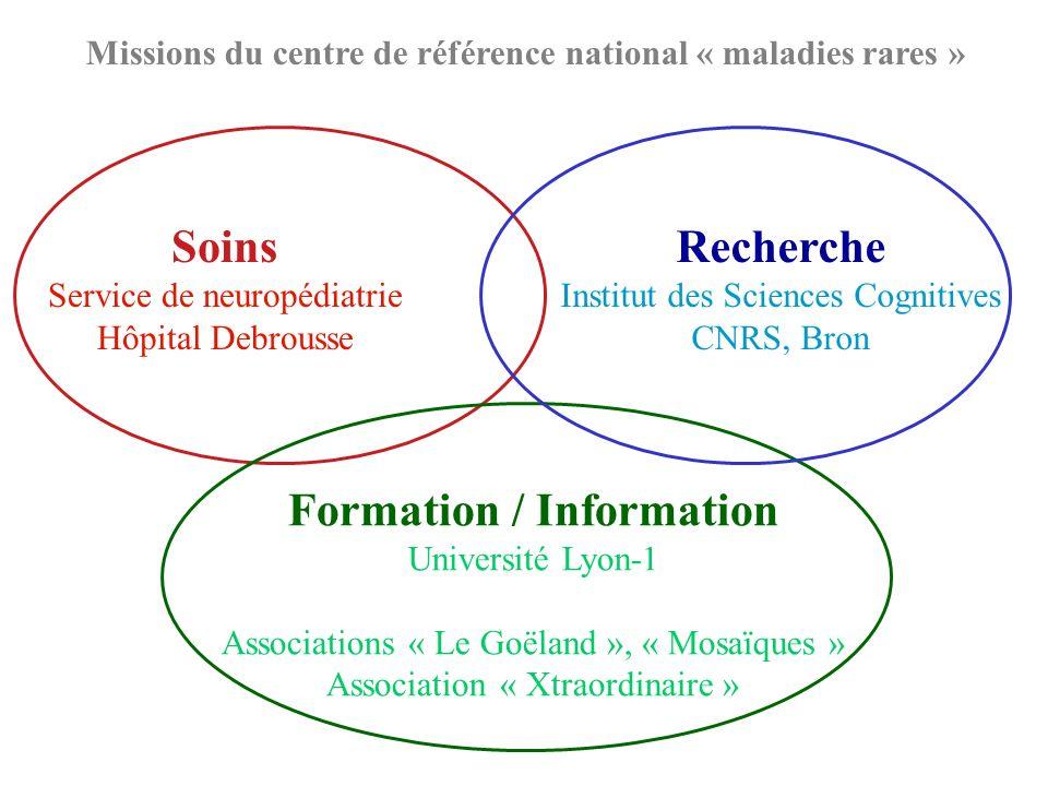 Soins Service de neuropédiatrie Hôpital Debrousse Formation / Information Université Lyon-1 Associations « Le Goëland », « Mosaïques » Association « X
