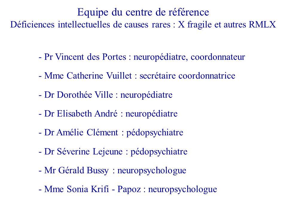 Equipe du centre de référence Déficiences intellectuelles de causes rares : X fragile et autres RMLX - Pr Vincent des Portes : neuropédiatre, coordonn