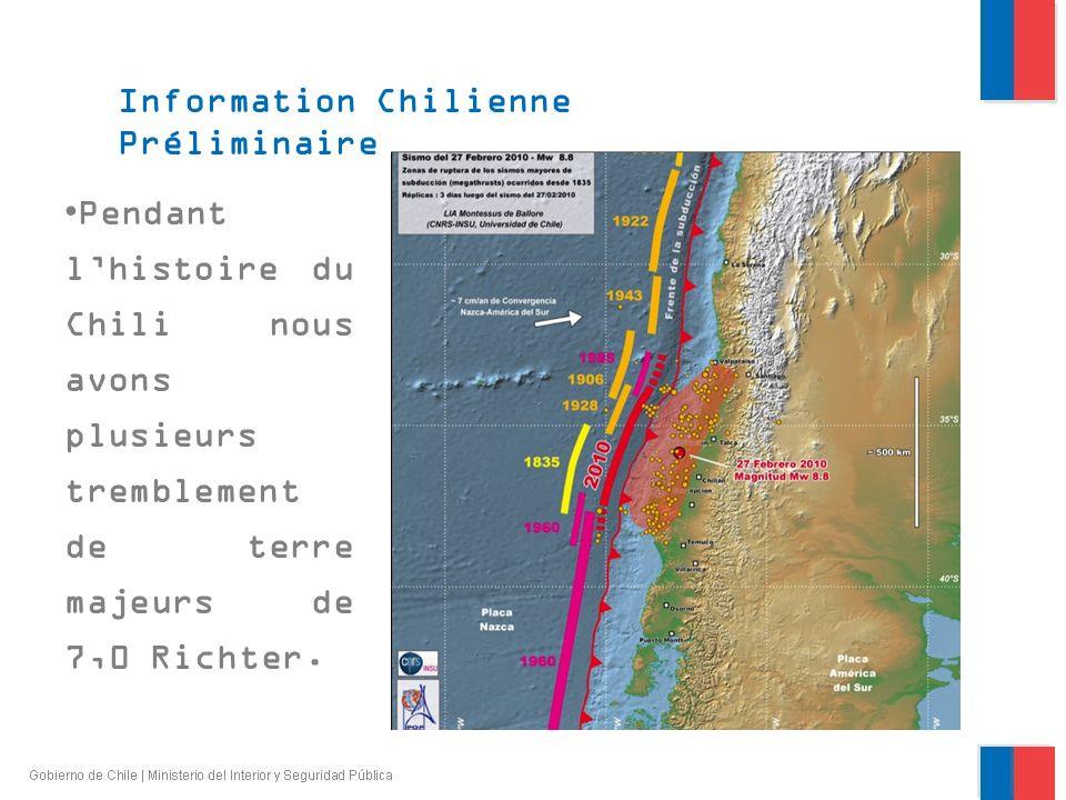 Pendant lhistoire du Chili nous avons plusieurs tremblement de terre majeurs de 7,0 Richter.